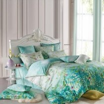 Teal Blue Green and White Forest Scene Tree Top Print 100% Tencel Lyocell Full, Queen Size Bedding Sets