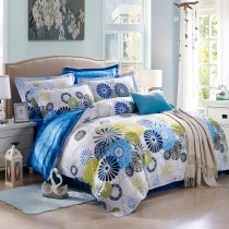 Violet-Blue Yellow and White Modern Chic Polka Dot, Circle and Stripe Print Abstract Design Unique Kids 100% Cotton Full Size Bedding Sets