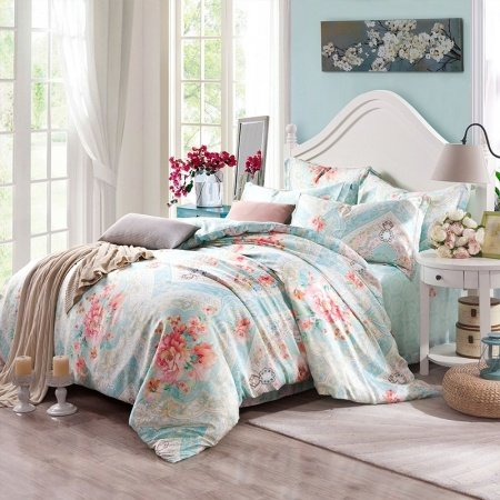 Celeste Green and Peach Pink Rustic Flower Print and Bohemian Tribal Pattern Abstract Design 100% Tencel Full, Queen Size Bedding Sets
