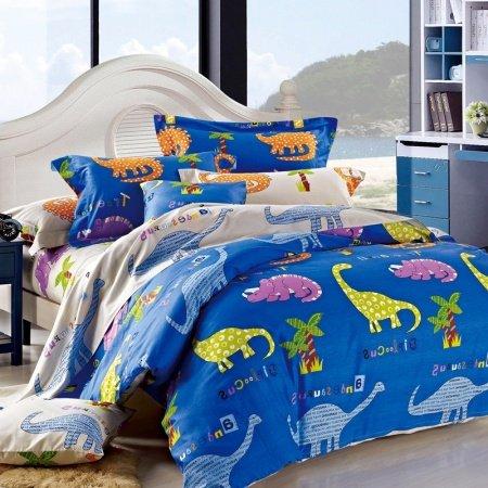 Royal Blue Yellow Purple and Orange Dinosaur Animal Print Jungle Safari Themed Damask Twin, Full Size Bedding Sets for Kids, Girls, Boys