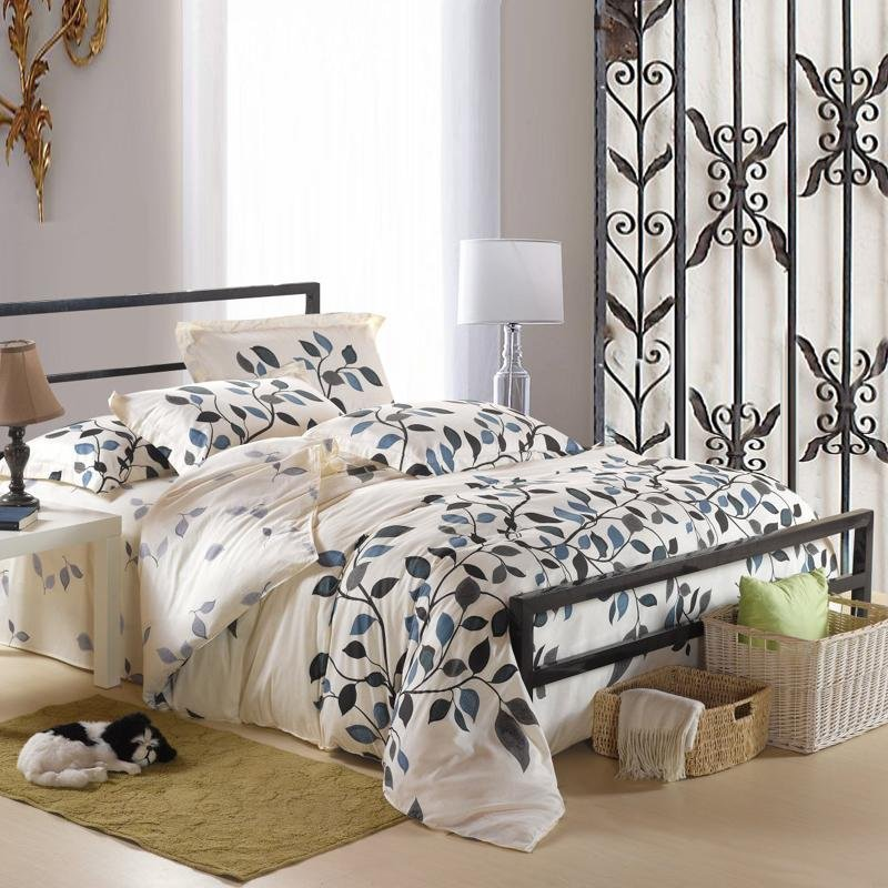 Gray and Beige Autumn Scene Tree Top and Leaf Pattern Full, Queen Size 100% Cotton Bedding Sets