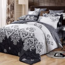 Black and Light Grey Medieval Pattern Tribal Print Classic Baroque Style Luxury Persian Themed 100% Cotton Damask Full, Queen Size Bedding Sets