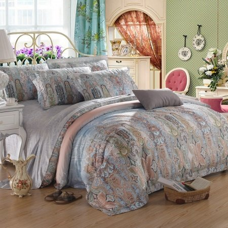 Light Blue Gray and Brown Noble Excellence Luxury Persian Style Medieval Pattern Classic 100% Egyptian Cotton Full, Queen Size Bedding Sets