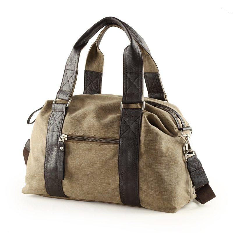 Khaki Brown and Black Canvas Casual Travel Purse Boutique Sport Style Crossbody Bag Applique Zipper Men Medium Single Shoulder Tote Bag