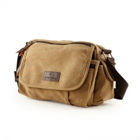 Khaki Brown Vogue Cute Canvas Crossbody Bag Korean Casual Sport Travel Bag Take Cover Zipper Applique Men Medium One Shoulder Dumpling Bag