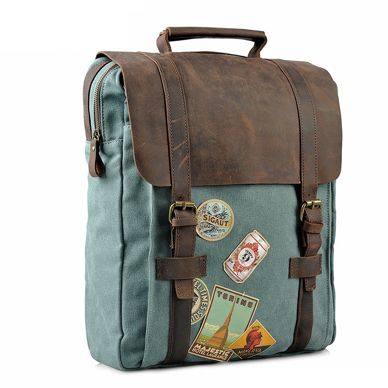 Mint Green Canvas Leather 14 Inch Retro Style Preppy Style Leather Belt Sewing Pattern Backpack, Laptop Bag