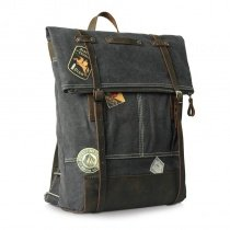 Charcoal Gray Canvas England Preppy Style Satchel Backpack Simply Sewing Pattern 14 Inch Laptop Bag Casual Zipper Unisex Medium School Bag