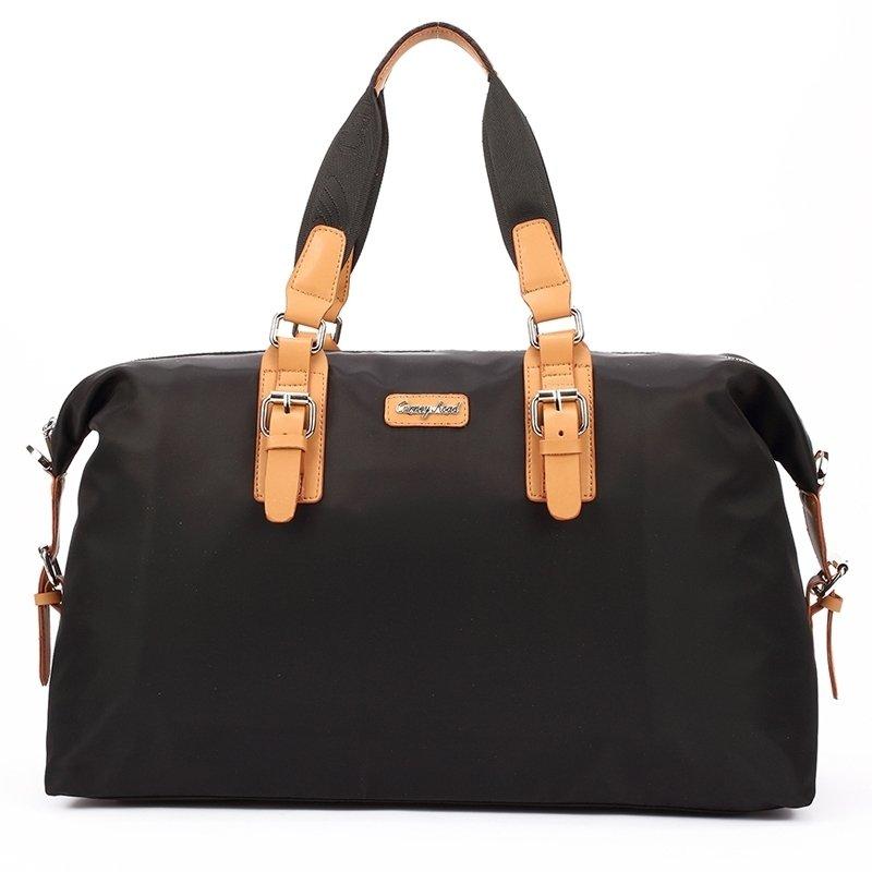 Black Oxford with Light Orange Leather Trim Color Blocking Box-Shaped Boston Bag lightweight Trendy Large Men Travel Tote Bag