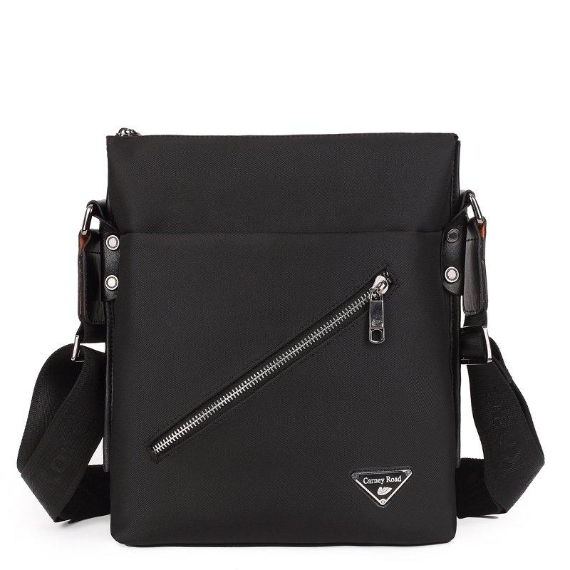 Solid Black Simply Chic Oxford Fabric Men Business Crossbody Bag Classical Mitoshop Zipper Appliques Medium Shoulder Bag