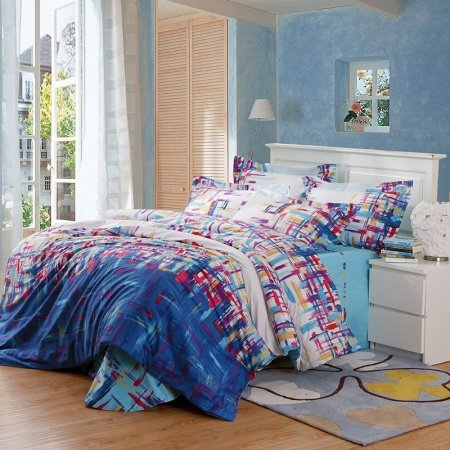 Denim Blue Cream and Red Colorful Graffiti Print Shabby Chic Hipster Style Unique Abstract Design 100% Cotton Full, Queen Size Bedding Sets
