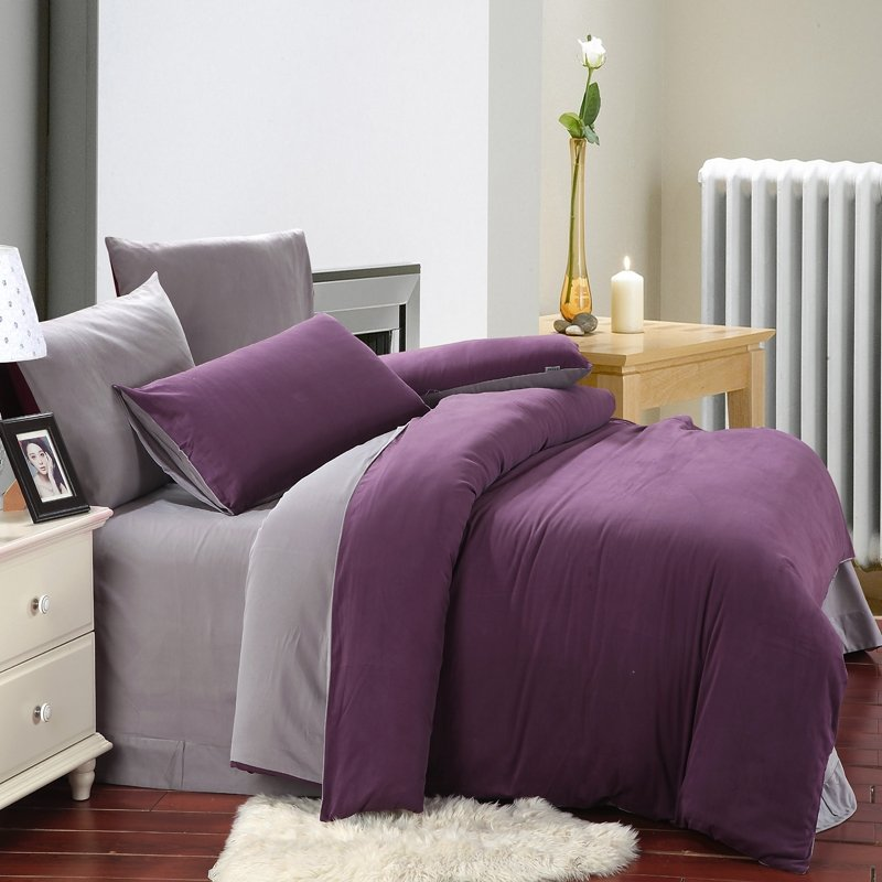 Purple and Grey Plain Colored Retro Western Style Simply Chic Color Block Brushed All Cotton Full, Queen Size Bedding Sets