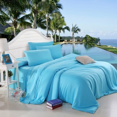 Acid Blue Plain Colored Luxury Exotic Western Style Unique Expensive Percale Fabric Microfiber 100% Tencel Full, Queen Size Bedding Sets