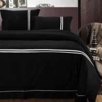 Plain Black with White Stripe Simply Chic Traditional Contemporary Personalized Men's 100% Cotton Damask Full, Queen Size Bedding Sets