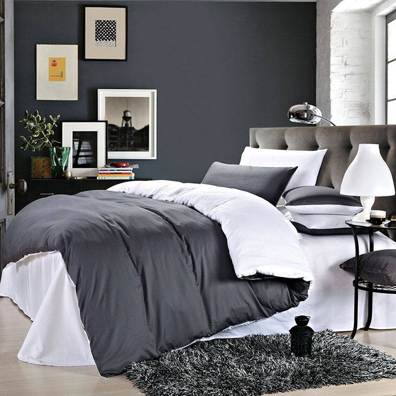 Charcoal and Snow White Plain Color Shabby Chic Western Style Microfiber Percale Fabric Reversible Mens Full, Queen Size Bedding Sets