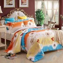 Orange Turquoise and Yellow Vintage Flower Print Country Chic Natural 100% Cotton Full Size Bedding Sets