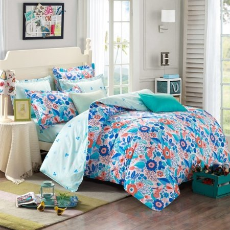 Blue Orange and White Weed Flower Print Plant Rustic Style 100% Cotton Twin, Full Bedding Sets