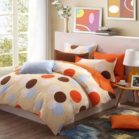 Orange Brown and Beige Polka Dot Design Modern Style Simply Chic 100% Brushed Cotton Full, Queen Size Bedding Sets