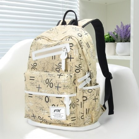 Khaki Brown Canvas with White Leather Trim Preppy Style Girls School Backpack Personalized Mathematical Notation Travel Bag