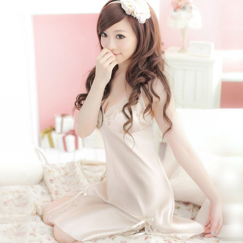 Champagne Color Sexy  Seductive V-neck Condole Belt Backless Skirt Sleeveless Bra G-string 100% Soft Silk Pajamas