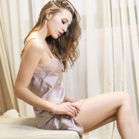 Almond Color Princess Elegant Cute Women Girls Lady Halter Top V-neck Spaghetti Strap Skirt Condole Belt Sleeveless M L XL XXL Pajamas