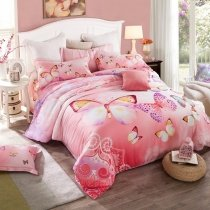 Hot Pink and Purple Butterfly Print Pastel Style Cute Girly Themed 100% Tencel Full, Queen Size Bedding Sets for Girls