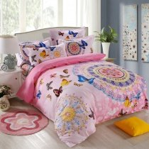 Pink Orange and Blue Girls Butterfly Print Pastel Style Bohemian Chic Circle Print 100% Cotton Twin, Full Size Bedding Sets