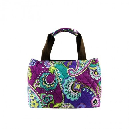 Durable Handmade Canvas Stylish Casual Women Small Tote Bag Purple Teal Yellow Paisley Floral Zipper Western Style Diamond Purse
