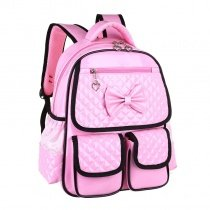 Durable Shiny Pink Embossed Patent Leather Sewing Pattern Girls School Backpack Stylish Black Trim Cute Bow Pupil Preppy Book Bag