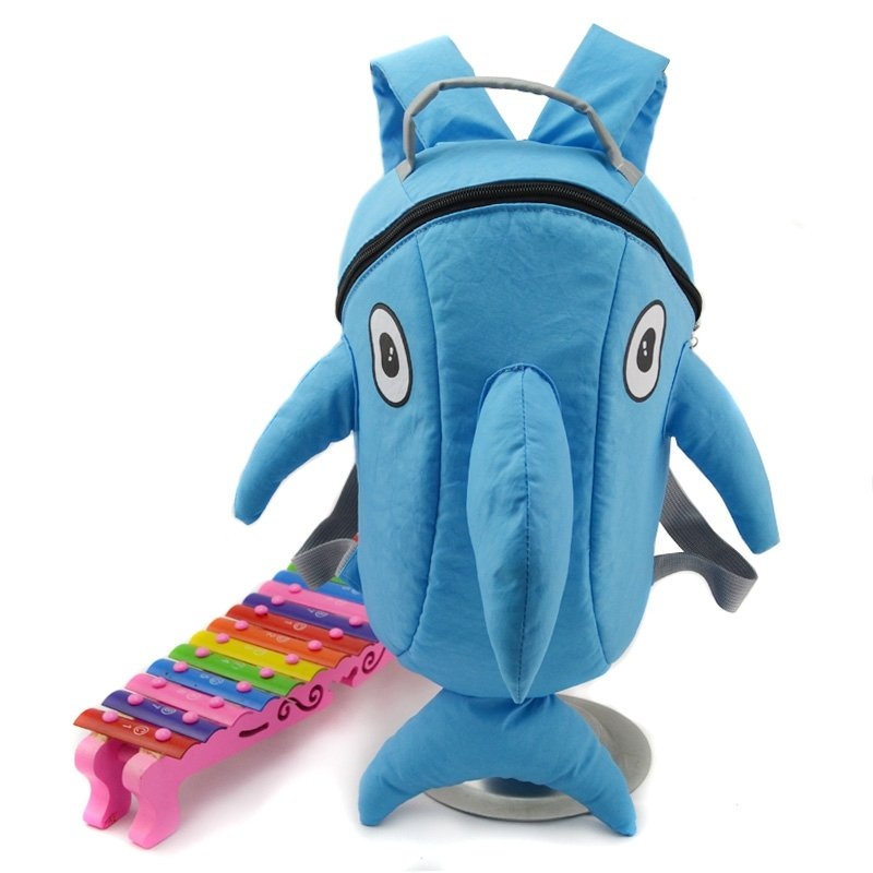 Solid Sky Blue Dolphin Fish-shaped Personalized Cute Animal Toddler Book Bag Stylish Durable Kids Preppy School Backpack