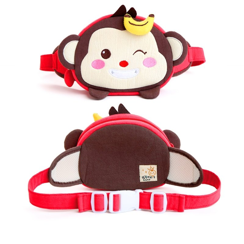 Personalized Cute Animal Monkey Face-shaped Kids Small Waist Pack Black White Brown Durable Cotton Fine Casual Crossbody Chest Bag