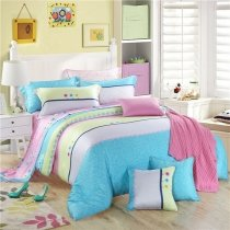 Aqua Pink Grey and Light Yellow Candy Stripe Print Pastel Style Modern Chic Cute Style 100% Tencel Full, Queen Size Bedding Sets