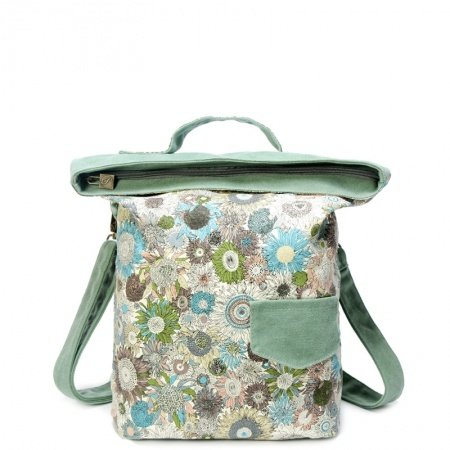 Sea Green Oversized Canvas Tote Casual Women Stylish Colorful Country Chrysanthemum Print Bucket-shaped Crossbody Shoulder Handle Bag