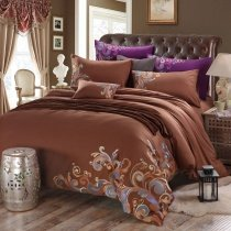 Brown Old World Style Fancy Swirl Design Shabby Chic Abstract Design Western Style 100% Cotton Full, Queen Size Bedding Sets
