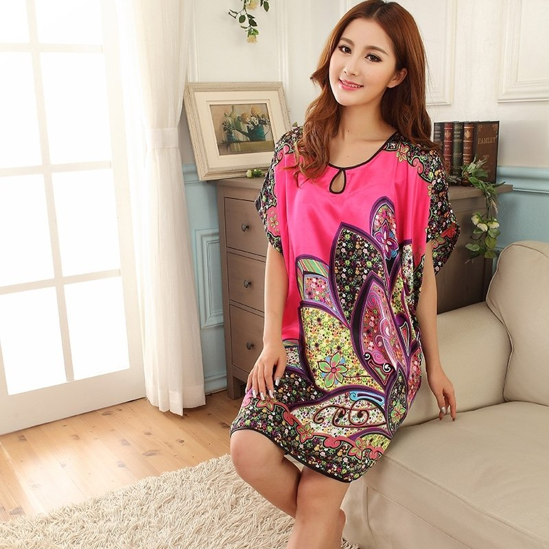 Rose Red Western Paisley Breathable Comfortable Soft 1 Piece Polyester Short Sleeve Crewneck Skirt Free Size Women Pajamas