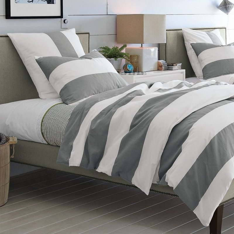 Gray and White Rugby Stripe Hotel Style Masculine Style Traditional 100% Cotton Twin, Full, Queen Size Bedding Sets