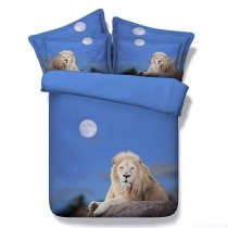 Blue and Brown Lion Print Jungle Animal African Safari Themed 3D Design Natural Modal Fiber Twin, Full, Queen, King Size Bedding Sets