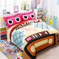 Burnt Orange Beige and Pink Colorful Radio Print Music Notes Hipster Style Unique 100% Polyester Twin, Full, Queen Size Bedding Sets