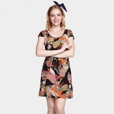 Black Colour Tribal Bohemian Style Princess Cute Women Girls Lady Modal Scoop Neck Cap Sleeve Summer Dress L XL XXL Pajamas