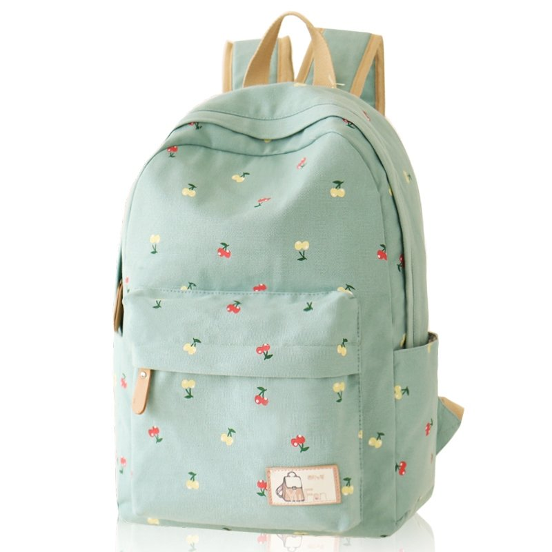 Durable Turquoise Green Canvas Junior Preppy School Book Bag Stylish Cute Fruit Cherry Print Hiking Travel 14 Inch Laptop Backpack