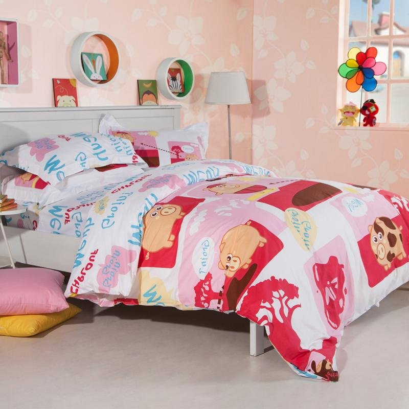 Red Pink and White Farm Animal Pig Print with Monogrammed Themed Full, Queen Size 100% Cotton Bedding Sets