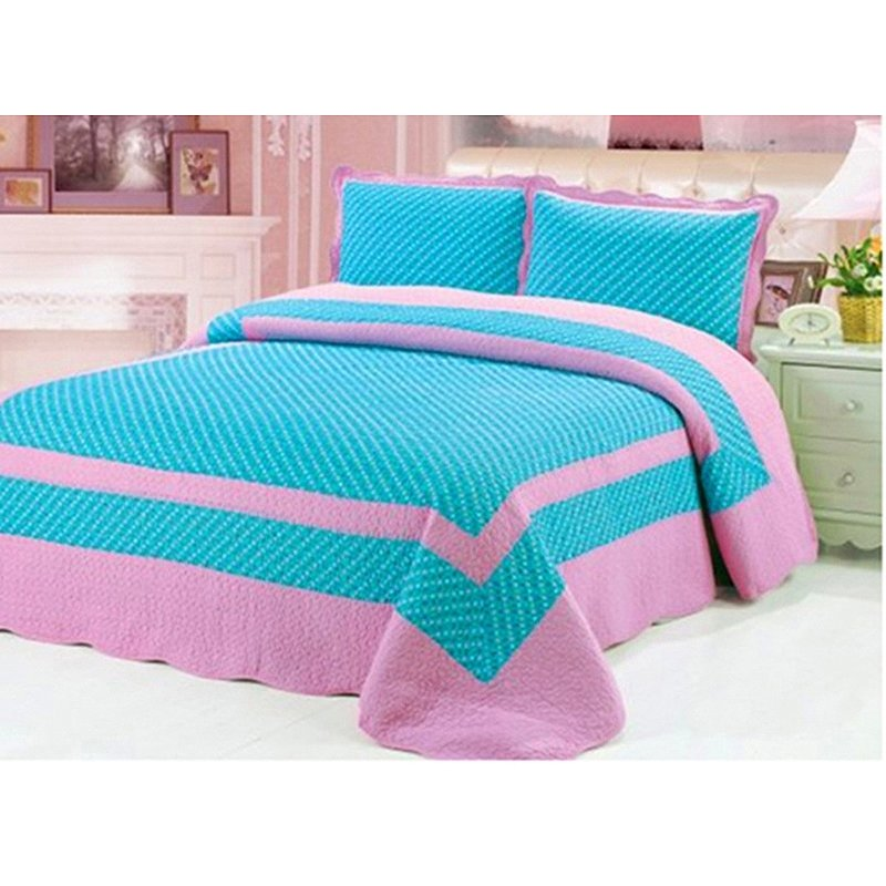 Turquoise and Pink Patchwork Quilted Stylish Cute Girly Themed Luxury 100% Cotton Full Size Bedding Sets for Girls
