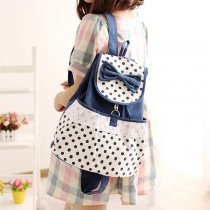 Deep Blue White Canvas Cute Bow Ruffle Lace Casual Travel School Flap Drawstring Backpack Personalized Polka Dot Girls Preppy Book Bag