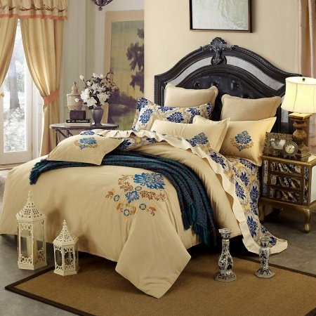 Luxury Hotel Style Beige and Cobalt Blue Rococo Pattern Modern European Themed 100% Cotton Damask Full, Queen Size Bedding Sets