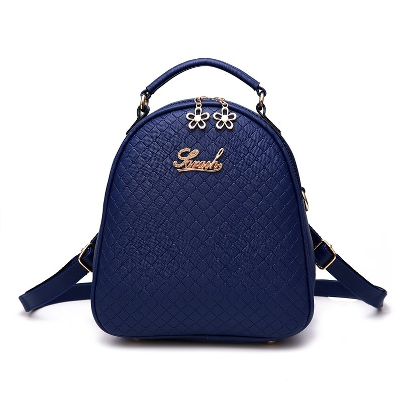 Dark Blue Faux Leather Embossed Plaid Tote Stylish Casual Party Crossbody Shoulder Bag Elegant Women Korean Style Small Quilted Backpack