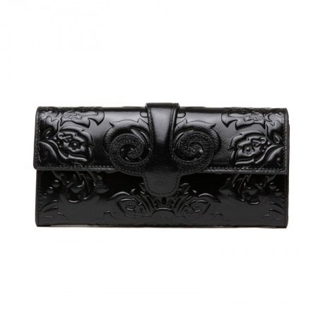 Personalized Black Cowhide Leather Women Casual Evening Party Clutch Stylish Bohemian Vintage Western Floral Embossed Small Flap Wallet