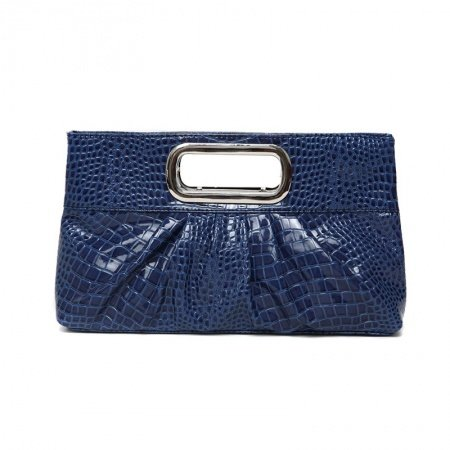 Vintage Navy Blue Patent Leather Lady Casual Party Evening Clutch Wristlet Stylish Embossed Crocodile Ruched Sewing Pattern Tote Bag