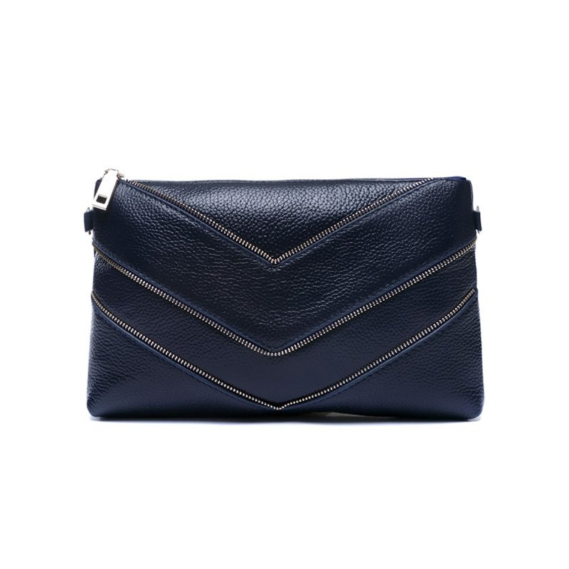 Luxury Plain Dark Blue Genuine Cowhide Leather Lady Evening Party Envelope Clutch Vogue Sewing Pattern Small Crossbody Shoulder Bag