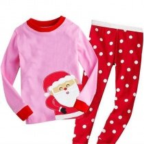 Red Pink Santa Claus Polka Dots 2pc Christmas Comfortable Cute Pajamas for Kids