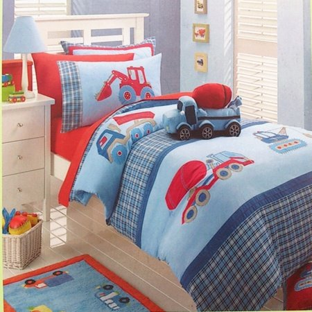 Kids Red Light Blue and Deep Blue Excavator and Truck Print Cartoon Themed Modern Chic 100% Cotton Twin, Full Size Bedding Sets