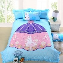 Elegant Girls Sky Blue Purple and Pink Princess Dress Print Cute Girly Modern Chic 100% Cotton Damask Twin, Full Size Bedding Sets